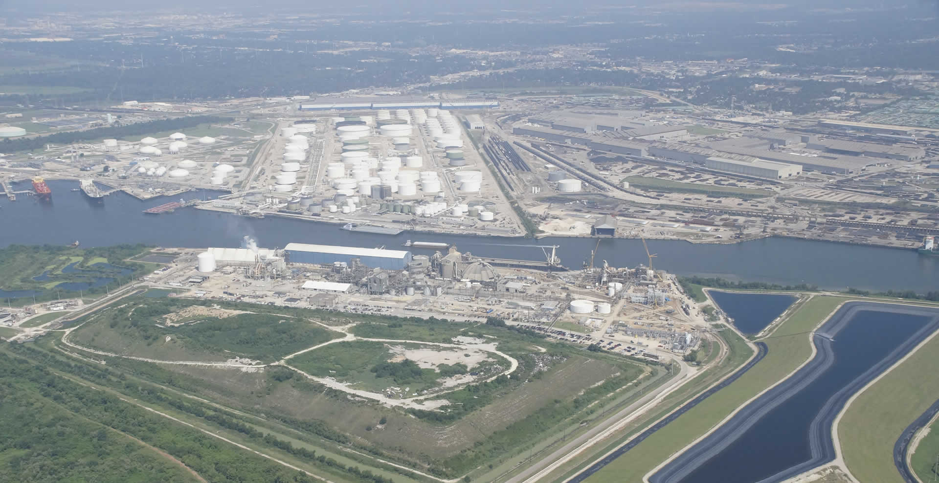 Aerial view of PCI Nitrogen, the Houston Ship Channel, and the surrounding area.